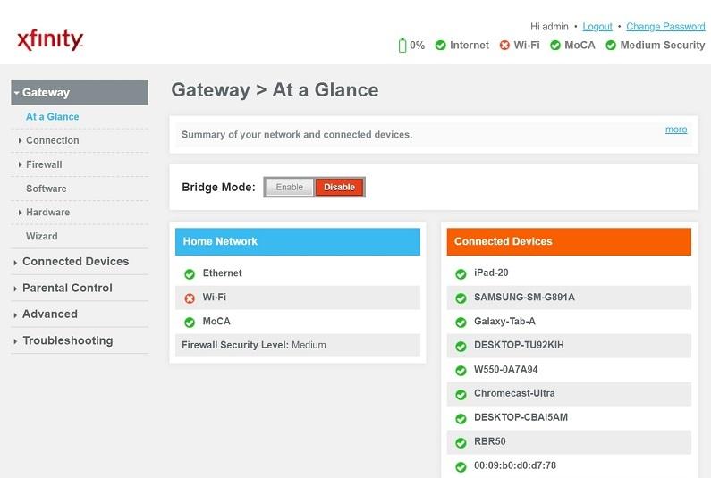 10.0.0.1 - 10.0.0.0.1 Xfinity Admin Page
